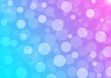 Soleil lumineux, bulles et Bokeh abstraits à l'arrière-plan bleu, pourpre et rose de gradient illustration de vecteur