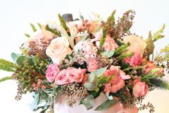Solemn bouquet of flowers for beautiful ladies, bunch of roses Imagenes de archivo