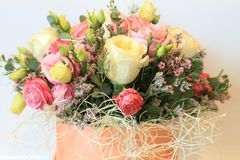 Solemn bouquet of flowers for beautiful ladies, bunch of roses Foto de archivo libre de regalías