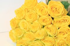 Solemn bouquet of flowers for beautiful ladies, bunch of roses Imagen de archivo libre de regalías