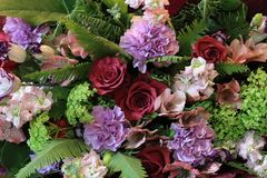 Solemn bouquet of flowers for beautiful ladies, bunch of roses Stock Photo