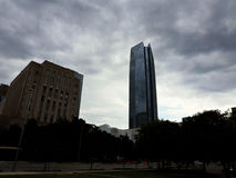 Solemn buildings. A photo of buildings in Dallas with a dark background Stock Photos
