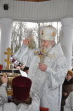 Solemn Christian worship on the feast of the Baptism of the Lord January 19, 2012 in the St. Peter and Paul Cathedral in Gomel and Stock Images