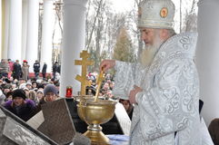 Solemn Christian worship on the feast of the Baptism of the Lord January 19, 2012 in the St. Peter and Paul Cathedral in Gomel and Stock Photo