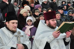 Solemn Christian worship on the feast of the Baptism of the Lord January 19, 2012 in the St. Peter and Paul Cathedral in Gomel and Stock Image