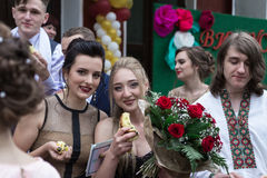 Solemn event on the final day of the Ukrainian school. Ozernoe, Ukraine, June 24, 2017: Solemn event on the final day of the Ukrainian school. Graduates of the Royalty Free Stock Photography