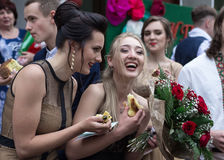 Solemn event on the final day of the Ukrainian school. Ozernoe, Ukraine, June 24, 2017: Solemn event on the final day of the Ukrainian school. Graduates of the Royalty Free Stock Images