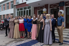 Solemn event on the final day of the Ukrainian school. Ozernoe, Ukraine, June 24, 2017: Solemn event on the final day of the Ukrainian school. Graduates of the Stock Photography