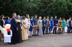 Solemn event on the final day of the Ukrainian school. Ozernoe, Ukraine, June 24, 2017: Solemn event on the final day of the Ukrainian school. Graduates of the Stock Image