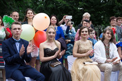 Solemn event on the final day of the Ukrainian school. Ozernoe, Ukraine, June 24, 2017: Solemn event on the final day of the Ukrainian school. Graduates of the Royalty Free Stock Photos