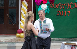 Solemn event on the final day of the Ukrainian school. Ozernoe, Ukraine, June 24, 2017: Solemn event on the final day of the Ukrainian school. Graduates of the Stock Images
