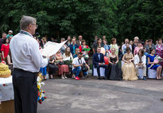 Solemn event on the final day of the Ukrainian school. Ozernoe, Ukraine, June 24, 2017: Solemn event on the final day of the Ukrainian school. Graduates of the Stock Photos