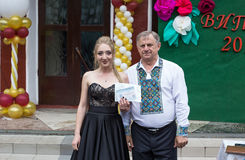 Solemn event on the final day of the Ukrainian school. Ozernoe, Ukraine, June 24, 2017: Solemn event on the final day of the Ukrainian school. Graduates of the Stock Photo