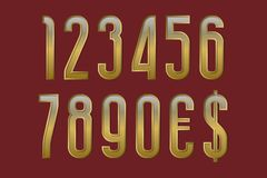 Solemn golden numbers with currency signs of dollar and euro.  vector illustration