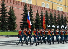 Solemn March of the honor guard after laying flowers to the tomb of the Unknown Soldier in Moscow Stock Photos