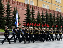 Solemn March of the honor guard after laying flowers to the tomb of the Unknown Soldier in Moscow Stock Image