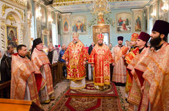 Solemn Orthodox service at the Cathedral of saints Peter and Paul in Gomel (Belarus) on may 3, 2015. Stock Photos