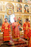 Solemn Orthodox service at the Cathedral of saints Peter and Paul in Gomel (Belarus) on may 3, 2015. Royalty Free Stock Images