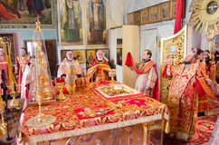 Solemn Orthodox service at the Cathedral of saints Peter and Paul in Gomel (Belarus) on may 3, 2015. Stock Photo