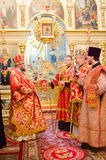 Solemn Orthodox service at the Cathedral of saints Peter and Paul in Gomel (Belarus) on may 3, 2015. Royalty Free Stock Image