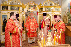 Solemn Orthodox service at the Cathedral of saints Peter and Paul in Gomel (Belarus) on may 3, 2015. Royalty Free Stock Photos