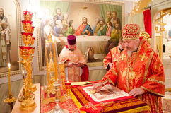 Solemn Orthodox service at the Cathedral of saints Peter and Paul in Gomel (Belarus) on may 3, 2015. Stock Image