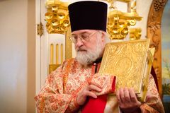 Solemn Orthodox service at the Cathedral of saints Peter and Paul in Gomel (Belarus) on may 3, 2015. Stock Images