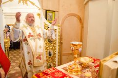 Solemn Orthodox service at the Cathedral of saints Peter and Paul in Gomel (Belarus) on may 3, 2015. Stock Photography