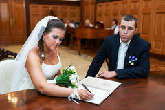 Solemn registration of marriage. In the Wedding Palace Royalty Free Stock Photo