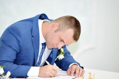 Solemn registration of newlyweds Stock Photos