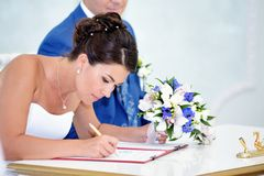Solemn registration of newlyweds Royalty Free Stock Photos