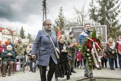 Solemn submission of wreaths at the monument of the victims of t. The ceremony dedicated to the soldiers cursed took place today also in Rembertów, at the Royalty Free Stock Photo