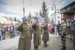Solemn submission of wreaths at the monument of the victims of t. The ceremony dedicated to the soldiers cursed took place today also in Rembertów, at the Stock Photography