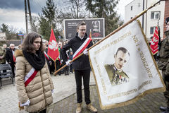 Solemn submission of wreaths at the monument of the victims of t. The ceremony dedicated to the soldiers cursed took place today also in Rembertów, at the Stock Photo
