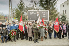 Solemn submission of wreaths at the monument of the victims of t. The ceremony dedicated to the soldiers cursed took place today also in Rembertów, at the Stock Image