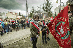 Solemn submission of wreaths at the monument of the victims of t. The ceremony dedicated to the soldiers cursed took place today also in Rembertów, at the Royalty Free Stock Photos