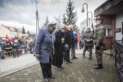 Solemn submission of wreaths at the monument of the victims of t. The ceremony dedicated to the soldiers cursed took place today also in Rembertów, at the Royalty Free Stock Photography