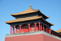 Solemn Tower, The Meridian Gate Wumen in the Forbidden City, Beijing. China Royalty Free Stock Photography