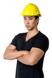 A solemn young  foreman isolated Stock Photos