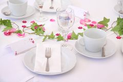 Solemnly laid wedding  table. Solemnly laid table for a wedding with white and pink Stock Images