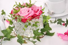 Solemnly laid wedding  table Stock Photo