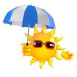 solen 3d har ett paraply Royaltyfria Foton