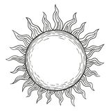 Solen, en linjär teckning i stilen av gravyrsvart fodrar Stock Illustrationer