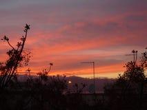 Solen faller på min älskade Reggio Calabria arkivfoto