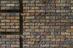 Solen kastar en blick av en tegelstenvägg med intryck som ger det texturbakgrund Royaltyfri Fotografi