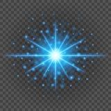 Solen med linssignalljuset tänder mall- och vektorbakgrund Glödande strålar för specialeffekt Royaltyfria Foton