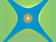 Solen och de gröna öarna Bakgrund Royaltyfri Foto