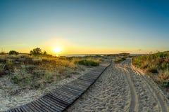 Solen på horisonten tänder trästrandpromenaden över sanddyerna till den lösa stranden royaltyfri fotografi