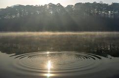 Solen på sjön arkivfoto