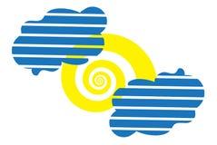 Solen som en spiral och symbol för två en gjord randig moln Arkivbilder
